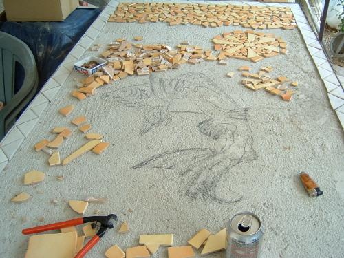 Fabriquer une table en mosaique for Faire une table de jardin mosaique
